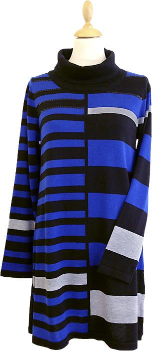 Stickad bredrandig tunika från danska Signatures vinterkollektion - Finns hos Boutique Rosé i Västervik
